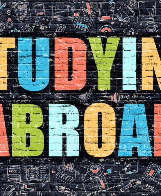 Studying Abroad on Dark Brick Wall.